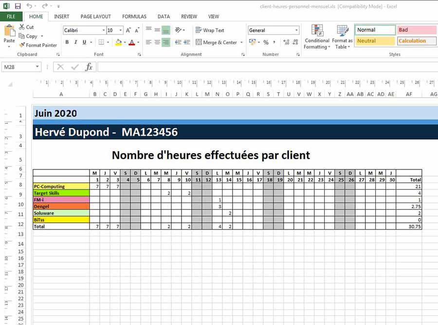 Créez un modèle de planning dans Excel avec PlanningPME